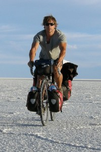 Gareth Collingwood (El Pedalero) riding the Salar de Uyuni, Bolivia